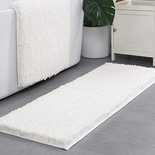 Lonior Badematterutschfeste Badezimmer Teppich Waschbar Badteppich ExtralangeAnthrazit Hochflor Badvorleger Weiß 120 x 45 cm