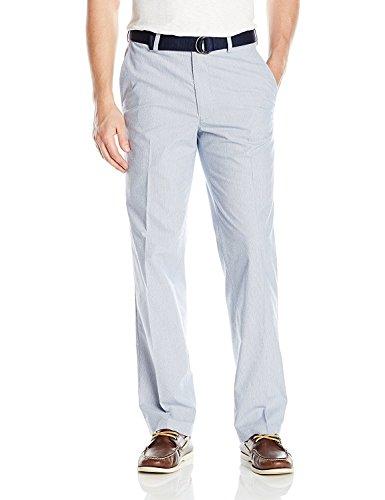 Haggar Men's Stretch Stripe Belted Poplin Classic Fit Flat Front Pant, Cobalt, 36Wx30L