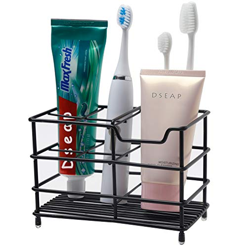 Dseap Toothbrush Holder Electric Toothbrush Holder  Antibacterial Stainless Steel Tooth Brush Holder Toothpaste Holder Organizer Stand Caddy for Bathroom Black