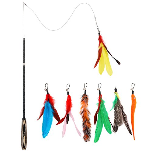 Pawaboo Feather Teaser Cat Toy, 7PCS Extensible Interactive Feather Wand Cat Toy Flying Feather Cat Catcher with Extra Long 38.6