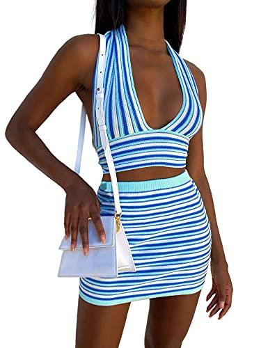 Conjunto de ropa sexy de dos piezas para mujer de los años 90 Vintage azul rayas patrón profundo cuello en V Crop Tops y falda de cintura alta Streetwear, azul, S