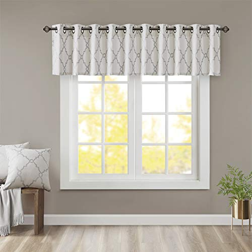 Madison Park Saratoga Window Curtain Light Filtering Fretwork Print 1 Panel Grommet Top Drapes/Valance for Living Room Bedroom and Dorm, 50x18, Ivory