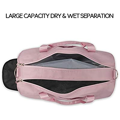 ICEIVY Dry Wet Separated Gym Bag Sport Gym Duffle Holdall Bag Training Handbag Yoga bag Travel Overnight Weekend Shoulder Tote Bag with Shoes Compartment for Women Pink