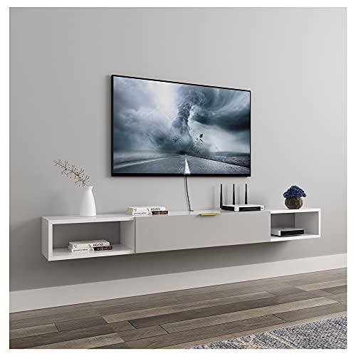 WFENG Mueble TV Suspendido,con un Cajón para Libros/DVDs,Mesa de Salón de Estilo Moderno,Muy Resistente/D / 120×20×18cm
