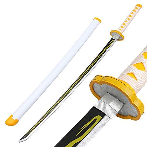 Demon Slayer Anime Samurai Ninja Espada de Madera con Vaina, Katana-Espada Arma Props Anime Roronoa Zoro Sword Toy, Anime Fans, 104cm, H