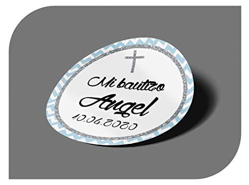 CrisPhy Pegatinas Personalizadas Comunion o Bautizo con Nombre y Fecha, Etiquetas Adhesivas para Invitacion Boda, Compromiso, Cumpleaños, Fiesta, Vintage, Sellos
