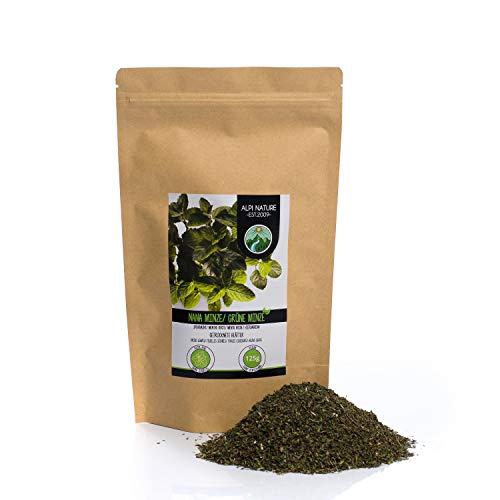 Groene munt, gesneden, voorzichtig gedroogd, 100% puur en natuurlijk voor de bereiding van thee, Marokkaanse munt, kruidenthee (125 GR)