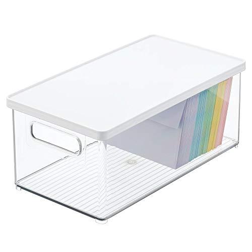 mDesign Caja de almacenamiento para bolígrafos, notas, clips y más – Organizador de escritorio con tapa de plástico resistente – Caja rectangular para material de oficina – transparente/blanco