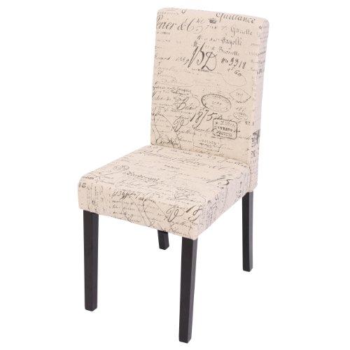 Mendler Esszimmerstuhl Littau, Küchenstuhl Stuhl, Stoff/Textil - Schriftzug Creme, dunkle Beine