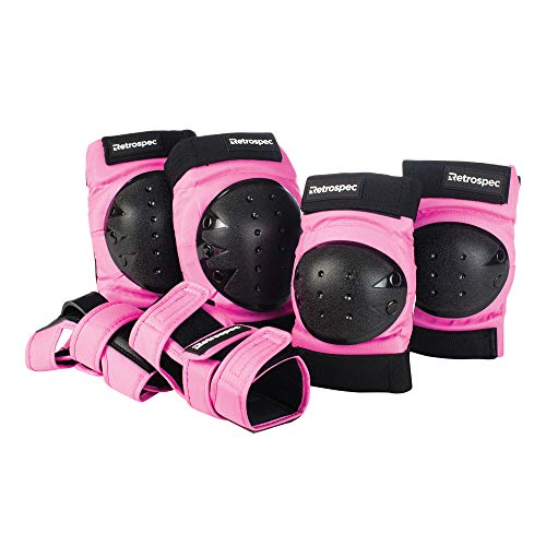Retrospec Adult//Youth//Child Knee Pads Elbow Pads and Wrist Guards Protective Gear for Skateboarding Roller Skate BMX and Scooter Multi Sport Pad Set