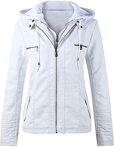 Damska jesienno-zimowa skórzana kurtka motocyklowa z odpinanym kapturem kurtka przejściowa damska odzież wierzchnia ze sztucznej skóry (Color : White, Size : XXXXX-Large)