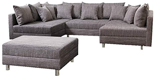 Küchen-Preisbombe Wohnlandschaft Sofa Couch Ecksofa Eckcouch in Gewebestoff hellgrau Minsk XXL