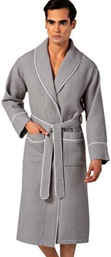 SEYANTE Waffle Shawl Collar Robe with Piping Lightweight Long Ultra Soft Spa Sleepwear Bathrobe product image