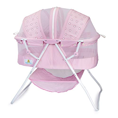Big Oshi Emma Newborn Baby Bassinet - Portable Bassinet for Boys or Girls - Perfect for Bedside, Indoors, or Outdoors - Lightweight for Travel - Canopy Netting Cover - Wood Bed Base, Pink Hearts