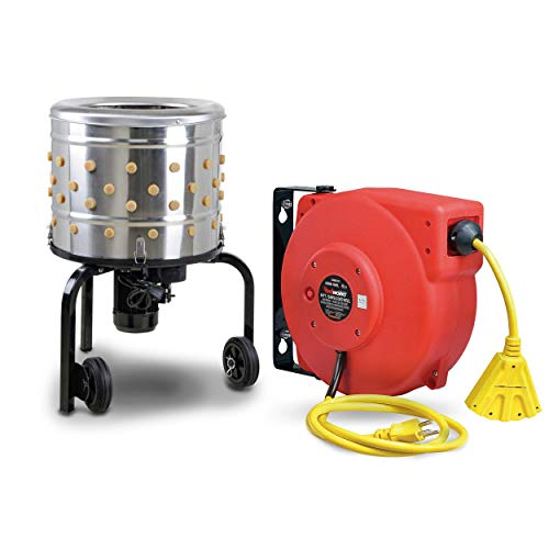 """Kitchener Chicken Plucker 20""""In Drum Diameter and Reelworks Extension Cord Reel12AWG x 40'ft SJT [BUNDLE DEAL]"""