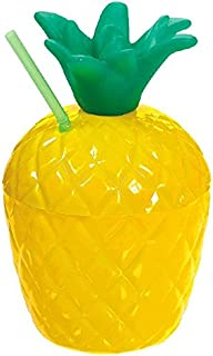 Amscan Pineapple Ball Sippy Cup for Cold Hawaiian Summer Party Drinks Reusable Beach Luau Picnic Drinkware, Yellow/Green, 18 oz