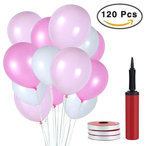 Pomisty Latex Luftballons Rosa,120 Stück Party Luftballons, Hochzeit Luftballons Geburtstag Dekorationen für Party Geburtstags Weihnachten, Hochzeit in 3 Farben