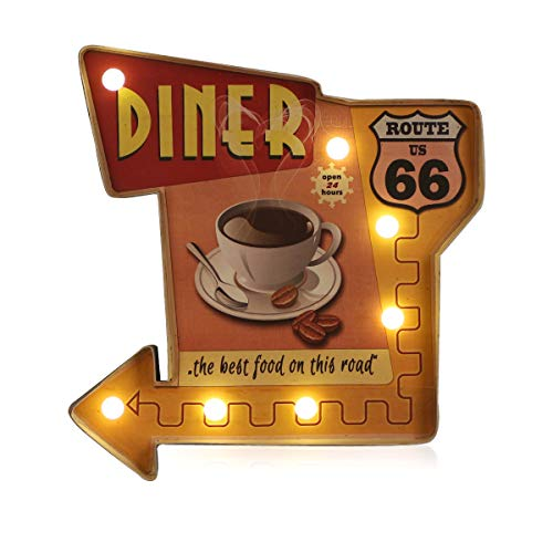Bar Decor, ACECAR Beer Wall Decorations, Bar Signs, Metal Embossed Tin Decor, for Apartment,Home,Kitchen,Cave,Basement,Bar or Cafe Wall Decoration–Battery Operated (Z-Coffee 66)