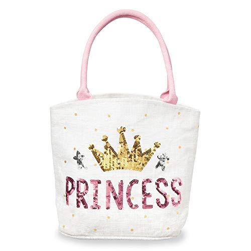 "Mud Pie Girls' Pretty Princess Dazzle Tote, White, 11""x 4"""