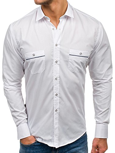 BOLF Chemise élégante Lisse Manches Longues Boutons Slim Fit Homme 5792 Blanc L [2B2]