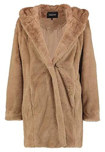 More & More dames teddybeer mantel middellang nep bont camel