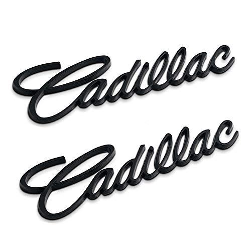 2pcs 3D for Cadillac Emblem,Car Side Rear Fender Trunk Emblem, Metal Labeling for Escalade ATS SRX XTS CTS XT5 XLR,etc (Black)