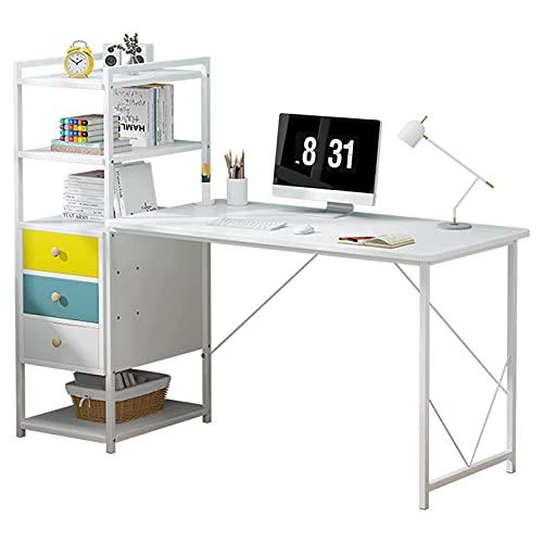 Escritorio de computadora con estantes y cajones Mesa de estudio de escritura de 55 pulgadas Estación de trabajo moderna Escritorio del ordenador portátil de la PC para la oficina en casa,Blanco