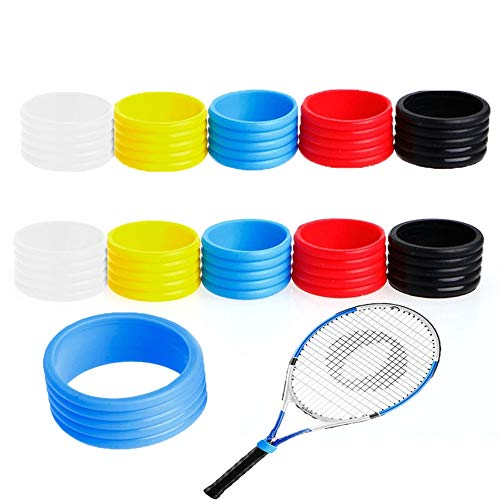 IMMANUEL Tennis Grip Band/Tennis Grip Rubber Band/Silicone Grip Ring/Tennis Racket/Tennis Racquet/Racket Handle Rubber Ring/Stretchy Tennis Racquet Band/Overgrip Sealing Ring(Pack of10)
