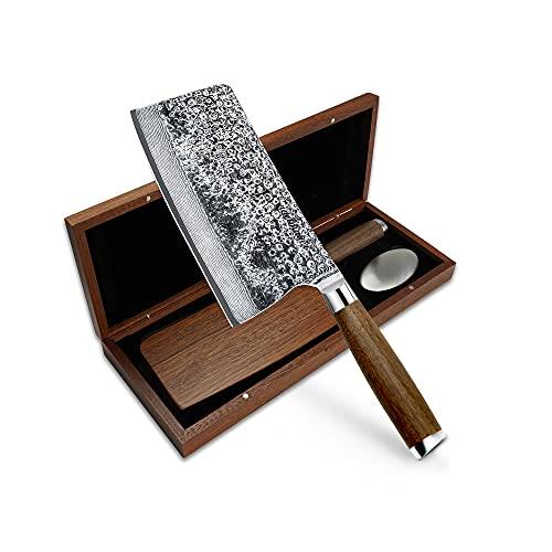 adelmayer® Premium Damastmesser - Hackmesser 18,3 cm - Extreme Härte und scharfe Klinge - japanischer Damaststahl - handgeschliffen - hochwertiger Walnussgriff - edle Geschenkbox