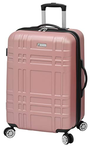 LONDON FOG Hardside Spinner Luggage, Rose Gold, Checked-Medium 24-Inch