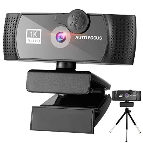 Cámara web HD 1080P con micrófono Webcam cubierta de privacidad, trípode, portátil, computadora, cámara web Plug and Play de sobremesa para transmisión en vivo, chat de vídeo, conferencia,