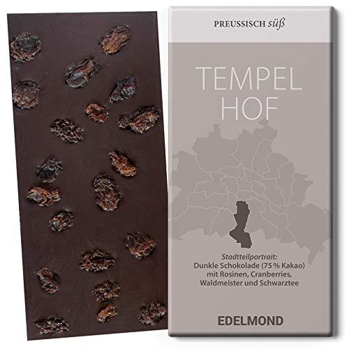 Kakao mit Rosinen, Cranberrys, Waldmeister und Schwarztee Bio-Schokolade. Typ: Tempelhof Berlin