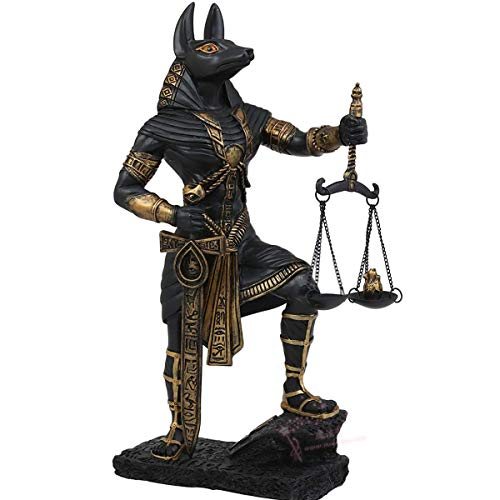 Enweonga Estatua del Dios Egipcio Anubis, Resina del Dios Egipcio Antiguo Y Figuras De La Balanza De La Justicia, Escultura Coleccionable para Adornos De Decoración del Hogar