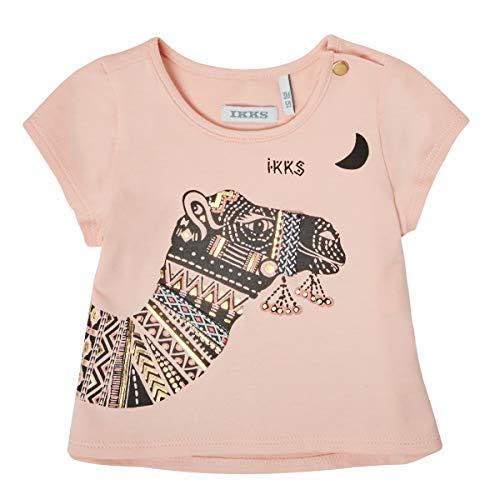 IKKS tee-Shirt Rose poudré imprimé Chameau Camiseta, Rosa, 3 Mes para Bebés