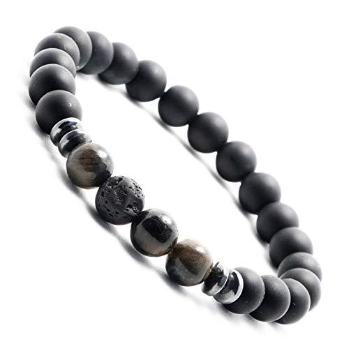 Tiefschwarzes Onyx-Perlen Armband für Herren | Männer Perlen Armband mit Lavastein | Perlen-Armband mit Naturstein (Dunkel-Braun) (Onyx Dunkel Tigerauge (Medium 20-22cm))