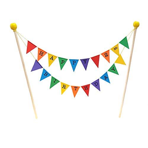 amazing buntings, Happy 2nd Birthday, Geburtstag Kuchentopper, Regenbogenfarben, Vollständig zusammengebaut, Hochwertige Handgefertigte Dekoration, 196