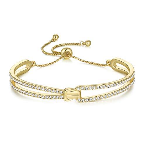 Joeyan Damen Armreif Knoten Gold Armbänder Einstellbar Kristall Geschenk