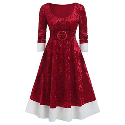 ZEELIY Weihnachten Party Kleider Damen Weihnachtsmann Kostüm Samt Kleid Miss Santa Claus Kostüm Langarm Weihnachtskleider Weihnachtsfrau Midi Kleid Tunika