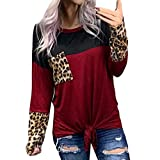 Auifor Leopardo del Nudo de la Camiseta de Manga Larga Top O-Cuello de Camisa de Las Mujeres(Rojo/XX-Large)