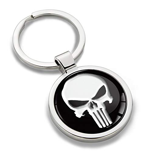 Skino Schlüsselanhänger Metall Keyring Keychain Punisher Skull Schädel Totenkopf Auto Schlüssel Geschenk Metall-Schlüsselanhänger KK 220
