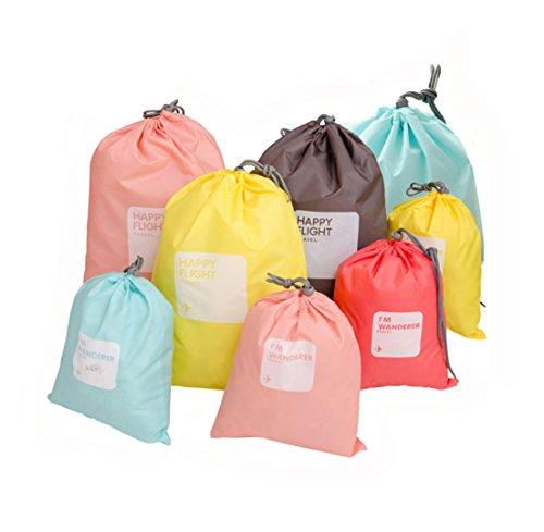 LZYMSZ 8 PCS Aufbewahrungsbeutel Reise Tasche, Nylon wasserdichte Kleidungs Beutel Zugschnur Taschen, Organizer Beutel für Koffer, Schuhe, Sport (8-Color)
