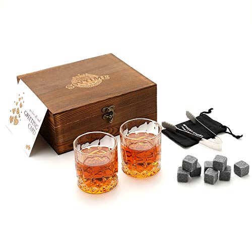 Whisky Stones Bril Gift Set, 2 Crystal Scotch Bril 8 Graniet Chilling Rocks, Houten Gift Box Burbon cadeau voor Whisky Lovers