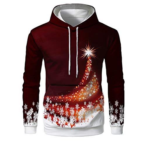 ODRD Christmas Herren Hoodie Weihnachtspullover - Unisex 3D Leuchtender Weihnachtsstern Ugly Sweatshirt Sweater - Hässliche Pulli Lustig Weihnachtspulli Damen Weihnachtsparty S~4XL