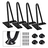 SMARTSTANDARD 6 Inch Heavy Duty Hairpin Furniture Legs, Metal Home DIY Projects for TV Stand, Sofa, Cabinet, etc with Rubber Floor Protectors Black 4PCS
