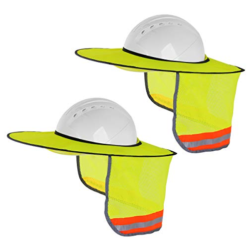 2 Pack Hard Hat Sunshield,Full Brim Mesh Neck Sunshade for Hardhats,High Visibility,Reflective