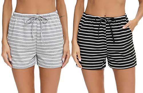 NewPI Pantaloncini Cotone Donna Pigiama Pantaloni Corti in Cotone Pantaloncini Sportivi