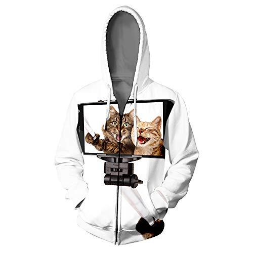 Sudadera con Cremallera de Gato Hip Hop Sudadera con Cremallera 3D Sudadera con Cremallera Harajuku Animal Sudaderas con Cremallera V01241 L
