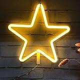 Luce al Neon, Luce Decorativa a Forma di Segno a Stella a LED, Decorazione Murale per Natale, Festa di Compleanno, Camera dei Bambini, Soggiorno, Decorazione Della Festa Nuziale (bianco caldo)
