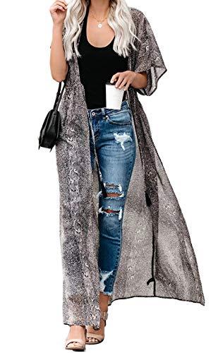 Kimono Cardigan Mujer Largo Verano Ropa de Playa Pareos Manga Corta Retro Impreso Blusa Tunica Vestido de Playa Cover Up (Talla única, Gris)
