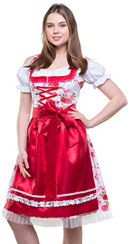 Bavarian Clothes Dirndl Damen Rot Weiß Trachtenkleid 3 teilig '7040' Midi Dirndl mit Dirndlbluse und Dirndlschürze Oktoberfest (Größe 46)